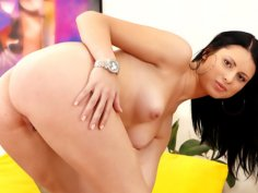 POV blowjob from a hot freshie with jet-black hair
