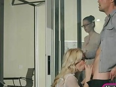 Glamour blonde babe Samantha Rone fucked and cum facialed