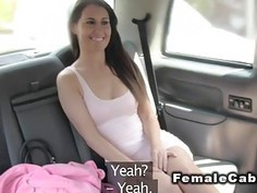 Hot British lesbo twerking in fake taxi