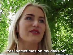 Sexy blonde babe Aisha having a sex in the public park