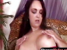 Big titted brunette slut pegging her lover