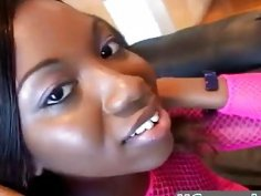 Busty ebony chick Audree in fishnets rides rod