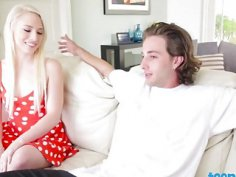 Beautiful blonde teen sucking big dick on couch