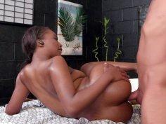 Ebony teen Daya Knight gets pussy drilled by hard white dick
