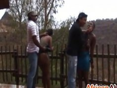 Horny African Sluts Getting Tortured Outdoors