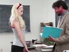Petite blonde schoolgirl Elsa Jean gets pussy licked and fucked