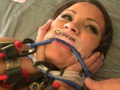 Sophia Lomeli's pussy producing light in BDSM games