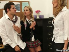 Filthy mature teacher Tanya Tate caught Charlee Monroe sucking cock
