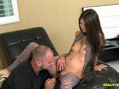Kinky Kong performes leopard print lingerie