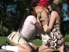 Amateur looking brunette fattie Sonya Sage shares cock with her girl