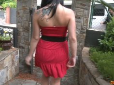 Pretty chick takes off her clothes and poses on cam