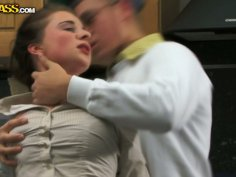 Slutty chick Cristal May gets fucked doggy in the kitchen
