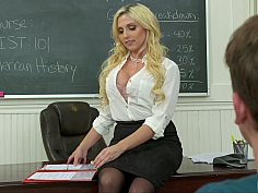 Blonde teacher in nylons fucked in the classroom