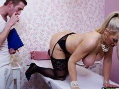 Busty cougar Rebecca in a hot fuck massage