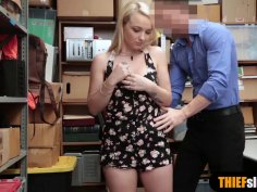 Shy blonde teenie fucked from behind by a mall cop