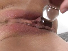 Darling is moaning during sextoy shovelling