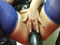 Amateur whore destroed her pussy by monster dildo