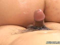 Saucy Japanese wench Yuri Amami gives a slippery massage and rides a cock afterwards
