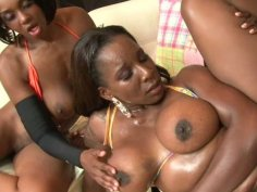 Booty black bitches Babe & Kelly are fucked on the coach