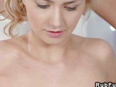 Lesbians rubbing pussies after massage