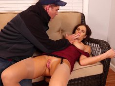 Cutie Mandy fingered and pussy drilled by a mature guy