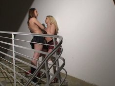 Cherie and Joanna Sweet having sex fun on the stairs