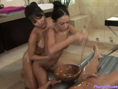 Lucky guy gets nuru massage and blowjob from Asa Akira and Stephanie Cane