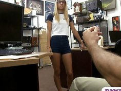Skinny babe with glasses gets screwed at the pawnshop