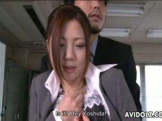 Submissive secretary Iroha Kawashima pleases cocks in the office